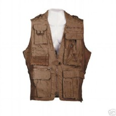 Safari Jackets - Humvee HMV-VS-BRN-L Humvee Safari Vest Brown Large