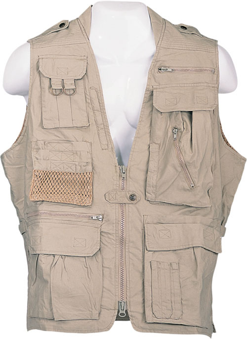 Safari Jackets - Humvee HMV-VS-K-L Humvee Safari Vest Khaki Large