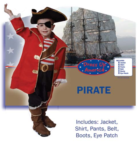 Dress Up America Deluxe Pirate Captain Costume Set Toddler T4 204-T