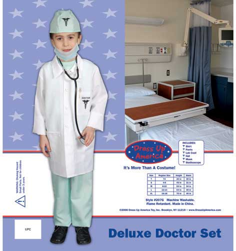 Dress Up America Deluxe Doctor Dress up Costume Set Toddler T4 207-T