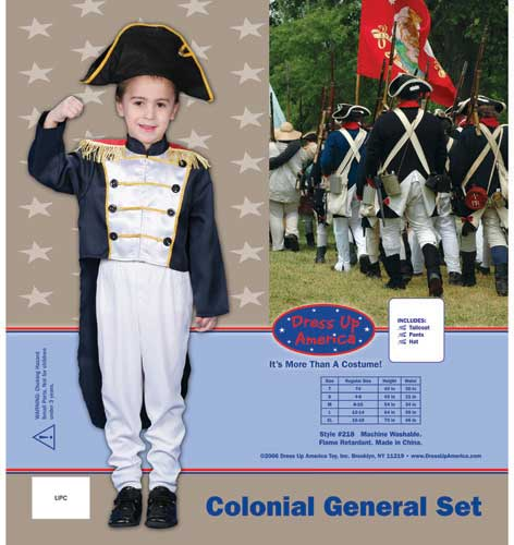 Dress Up America Colonial General Dress up Costume Set Large 12-14 218-L