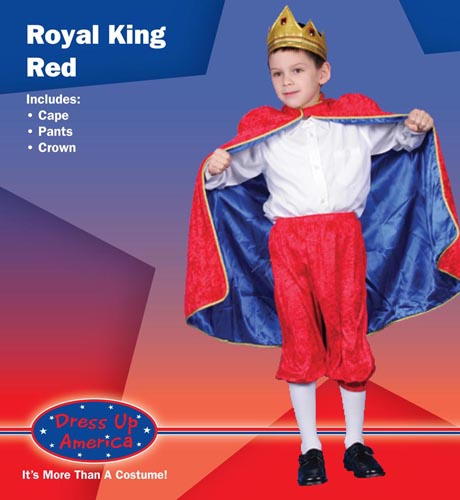 Deluxe Royal King Dress Up Costume Red Large 12-14 244-L