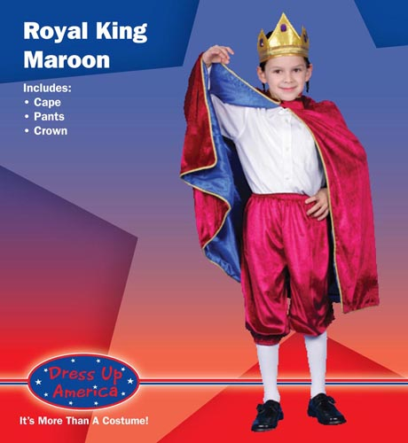 Deluxe Royal King Dress Up Costume Maroon Medium 8-10 245-M