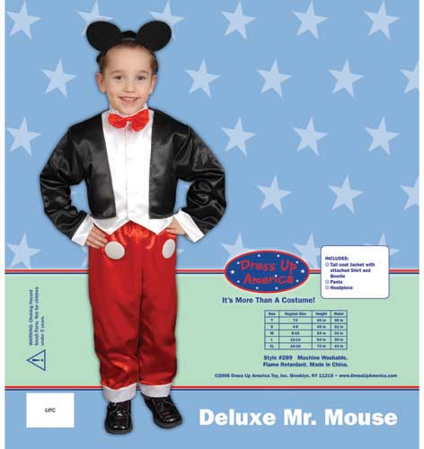 Deluxe Mr. Mouse Costume Set X-Large 16-18 289-XL