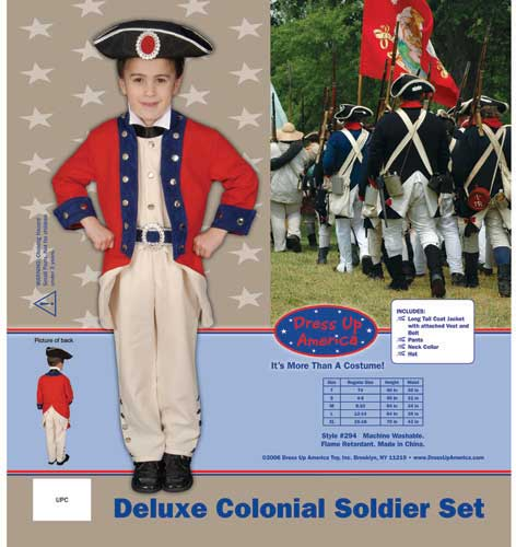 Deluxe Colonial Soldier Set Costume Set Small 4-6 294-S