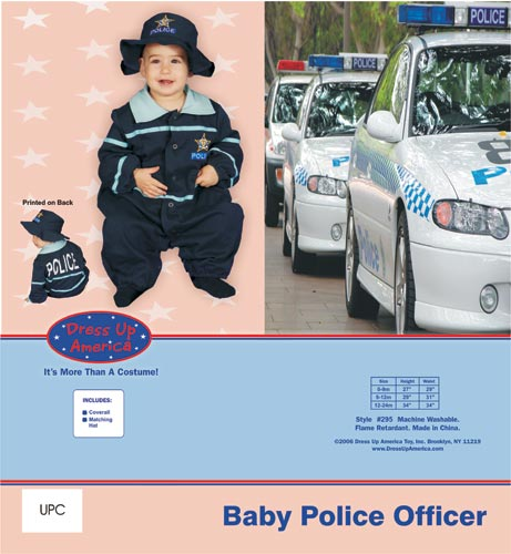 Baby Police Officer Costume Set 9-12 mo. 295-12M