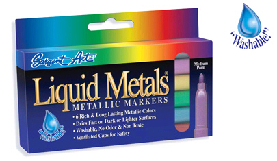 Sargent Art  Inc. SAR221506 Liquid Metals Metallic Washable Markers 6 Count