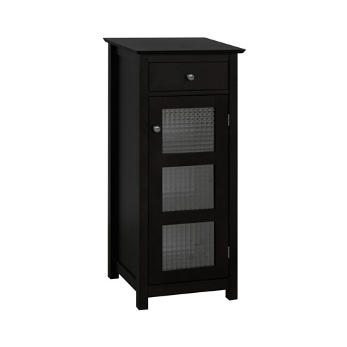 Elegant Home Fashions 6223 Chesterfield Floor Cabinet  1 Door and 1 Drawer - Espresso