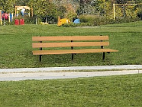 Engineered Plastic Systems TSLB8-IGM 8ft Trail Side Bench in Cedar with Steel Legs- INGROUND