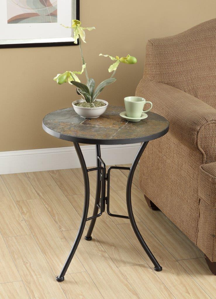 4D Concepts 601404 Slate Round Top Coffee Table - Metal/Slate