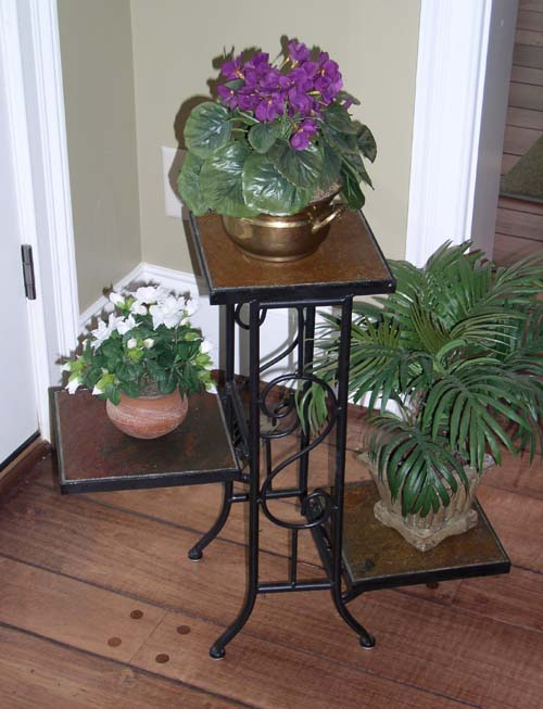 4D Concepts 601608 3 Tier Plant Stand with Slate Top - Metal/Slate