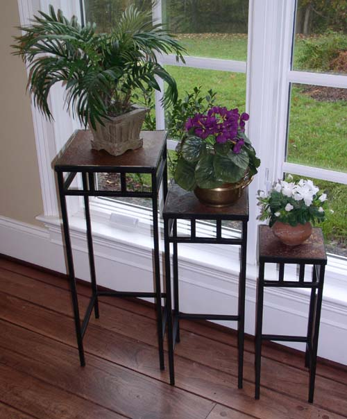 4D Concepts 601623 3 piece slate square plant stands w/ slate tops Metal/ slate