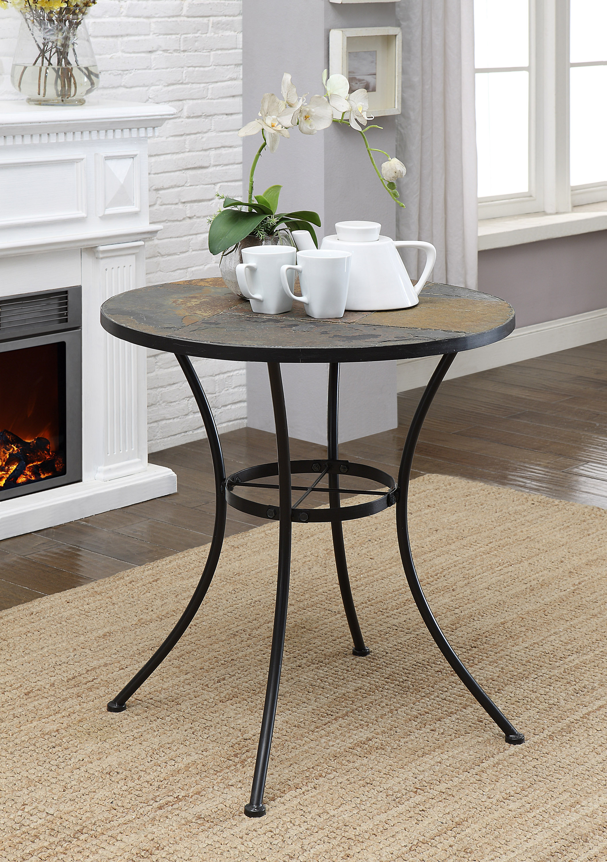 4D Concepts 601611 Round Table with Slate Top - Metal/Slate