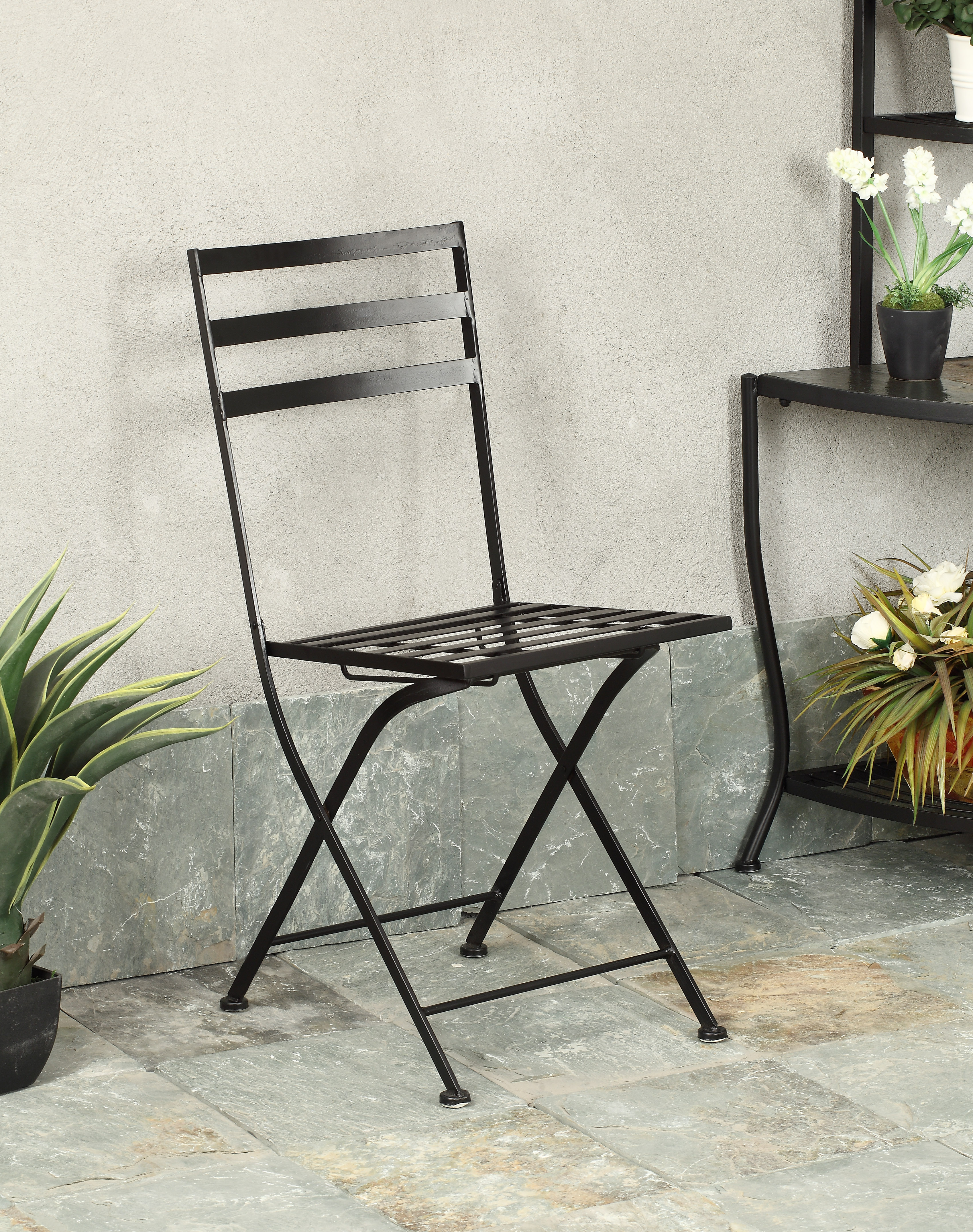 4D Concepts 601615 Black Metal Chair - Metal/Slate - 2 Pack