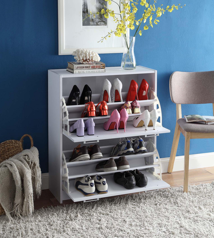 4D Concepts 76455 Deluxe Double Shoe Cabinet - White
