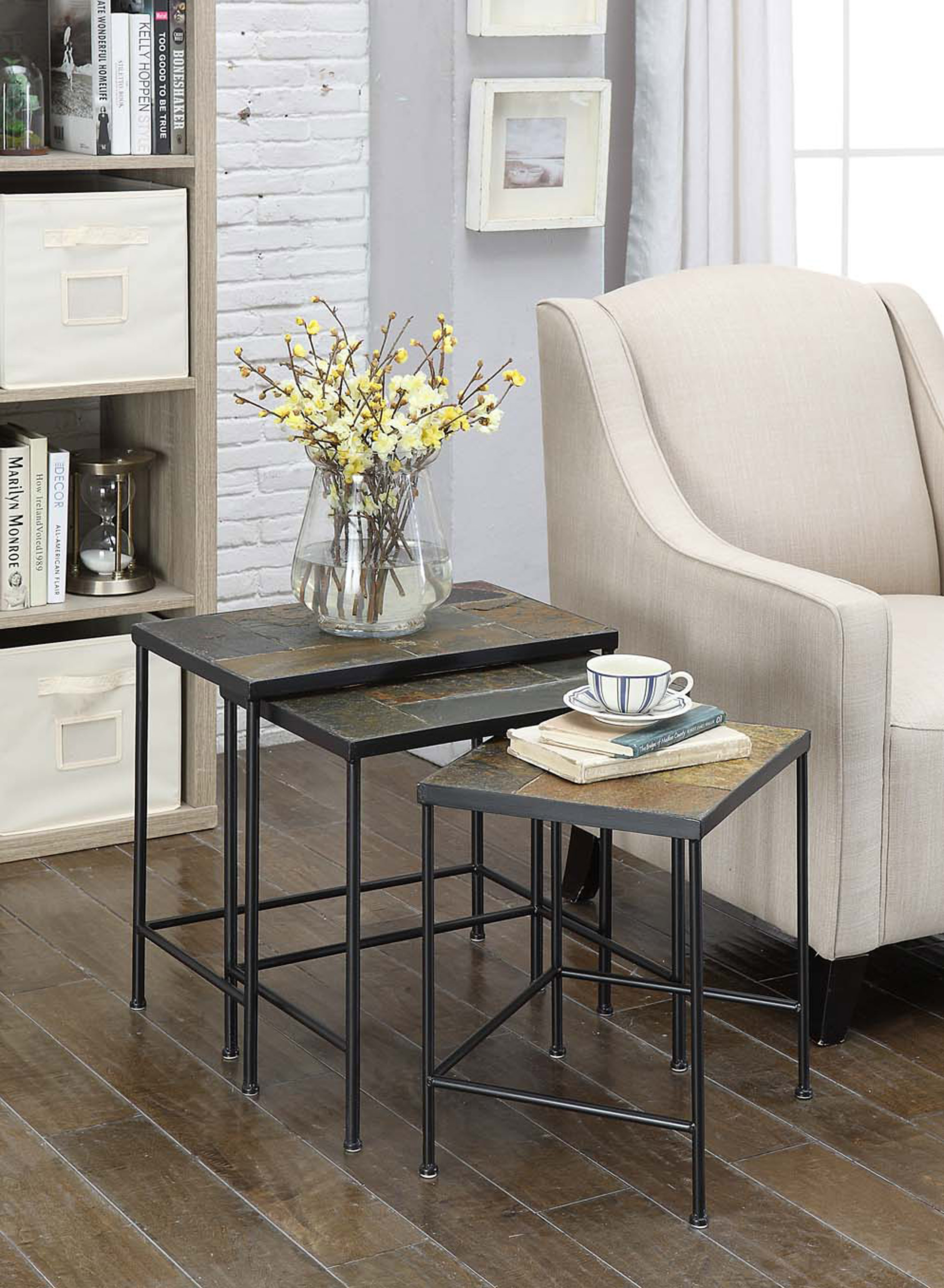 4D Concepts 601609 3 piece Nesting Tables with Slate Tops - Metal/Slate