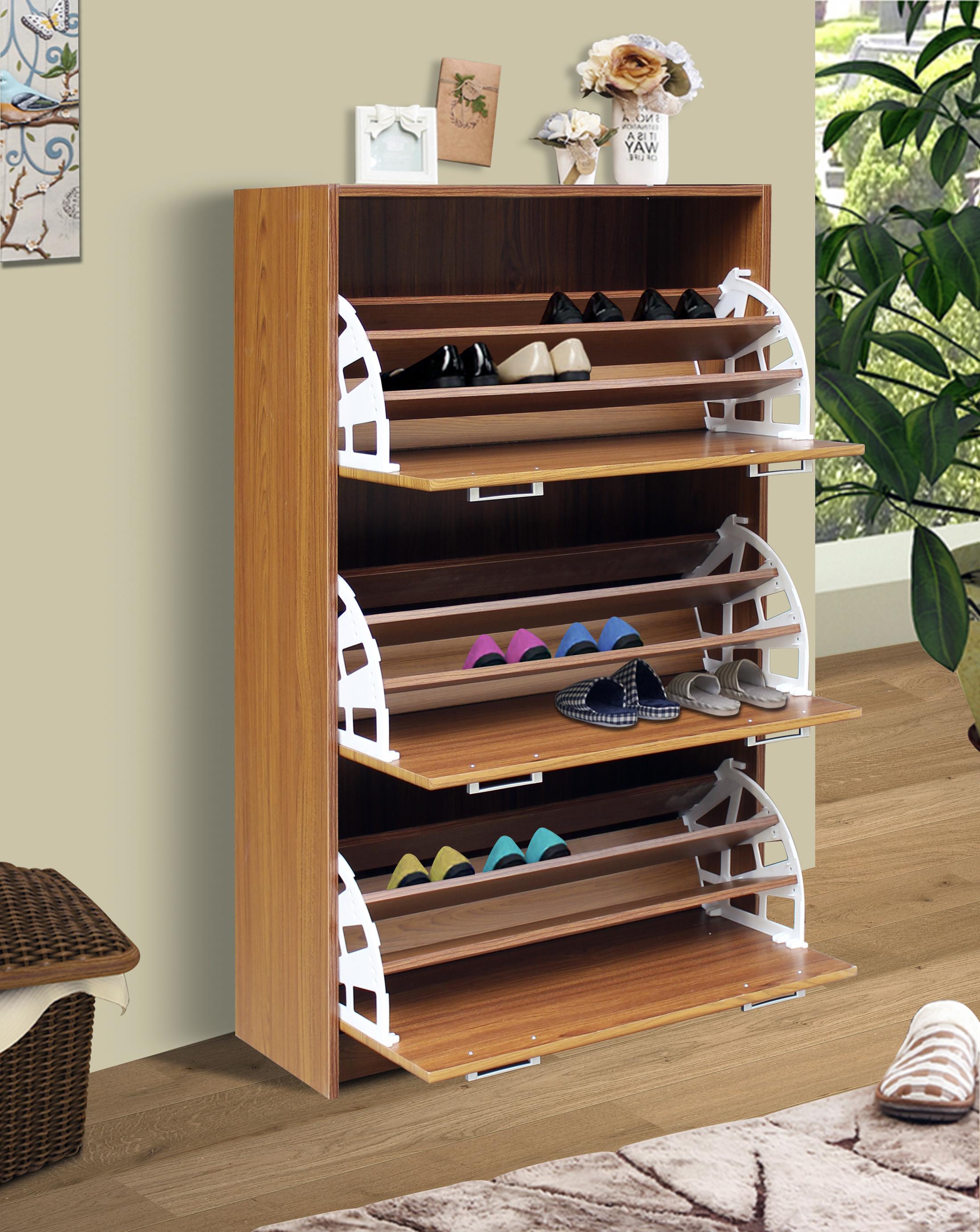 4D Concepts 76153 Deluxe Triple Shoe Cabinet - Oak