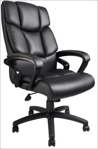 Boss B8702 Overstuffed Executive Leather Chair with Lumbar Support and Knee Tilt Mechanism