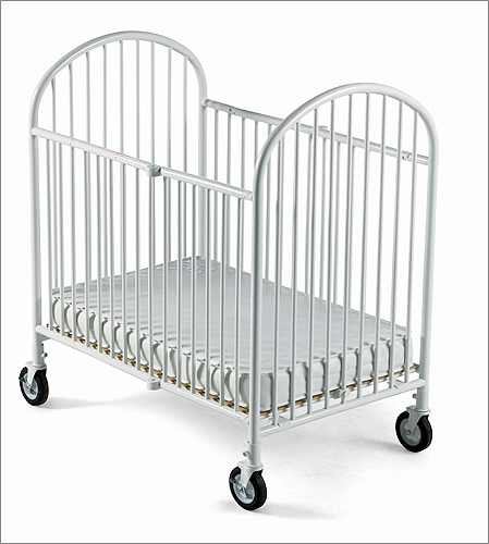 Foundations 1331097 Pinnacle Compact-Size Folding Crib with 4 Inch Foam Mattress - White