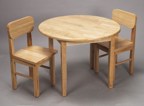 Giftmark 1407N Solid Wood Childrens Round Table & Chair Set Natural