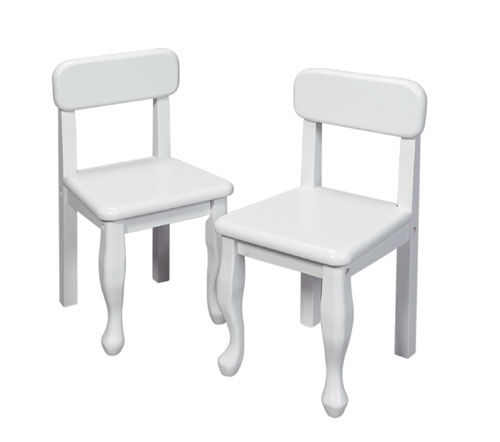 Giftmark 3003W Solid Wood 2 Queen Anne Chair Set White Extra Chairs To Go with 3000W Set.