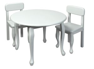 Giftmark 3000-RndWhite Childrens Round Solid Wood Queen Anne Table & Chair Set White