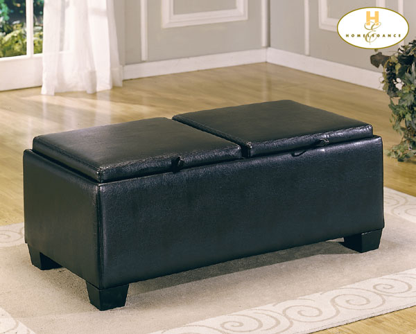 Home Elegance 458B-PU RECTANGLE OTTOMAN W/ STORAGE