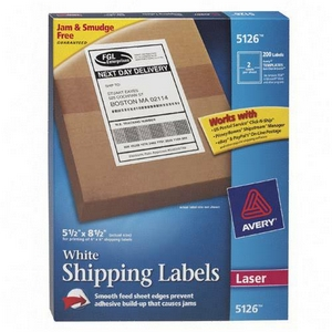 Avery Dennison White Shipping Labels 5.5 Inch x 8.5 Inch 200 Label Shipping Label 5126