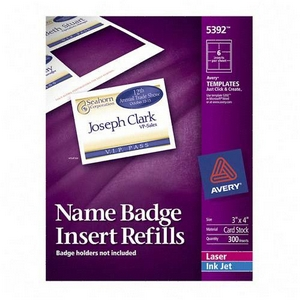 Avery Dennison Name Badge Insert Refills 3 Inch x 4 Inch 300 Badge Name Badges 5392