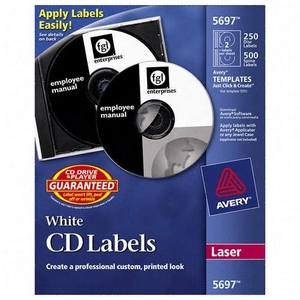 Avery Dennison CD-DVD and Jewel Case Spine Laser Labels Matte 250 Label  500 Spine Labels CD-DVD Label  CD-DVD Label 5697