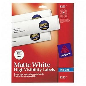 Avery Dennison High Visibility Labels 1.5 Inch Diameter Matte 400 Label Multipurpose Label 8293
