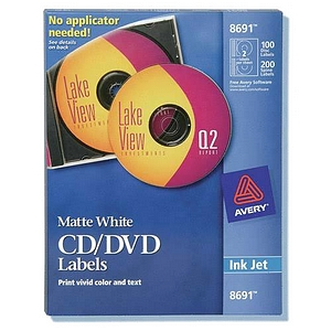 Avery Dennison CD-DVD and Jewel Case Spine Labels Matte 100 Label 200 Spine Labels CD-DVD Label CD-DVD Label 8691