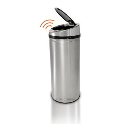 iTouchless IT08RCB 30L NX Touchless Trashcan Round Stainless Black Top