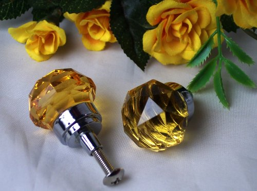 SMALL Amber Solid Crystal Glass Drawer/Door Pull