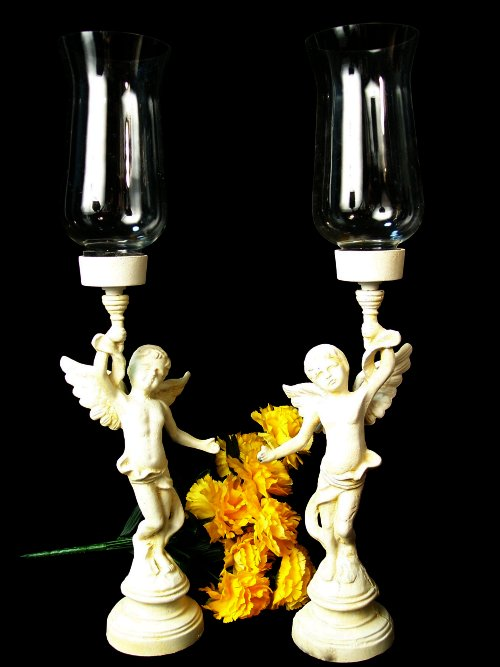 Large Cast Iron Set of 2 Angel Candle Holders