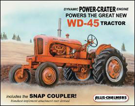 "IWDSC 034-1167 16"" W x 12.5"" H Allis Chalmers - WD45 Tin Sign"