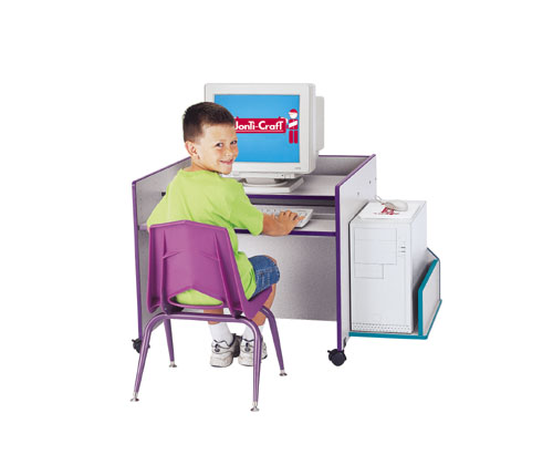 Discount Electronics On Sale Jonti-Craft 3494JC003 THRIFTY KYDZ COMPUTER DESK - SINGLE - BLUE