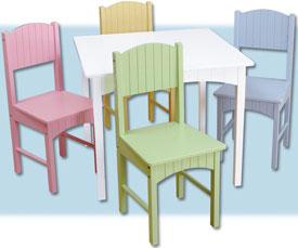 Kid Kraft Nantucket Table and 4 Chair Set -Pastel 26101