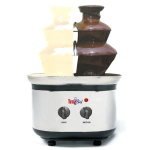 Koolatron WTF-43E Total Chef Double Chocolate Fondue Fountain - waterfall of melted chocolate cascading down