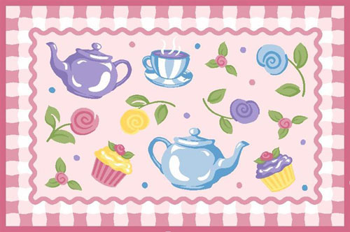 LA Rug OLK-056 1929 Olive Kids Collection - Tea Party Rug - 19 x 29 Inch