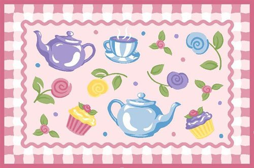 LA Rug OLK-056 3958 Olive Kids Collection - Tea Party Rug - 39 x 58 Inch