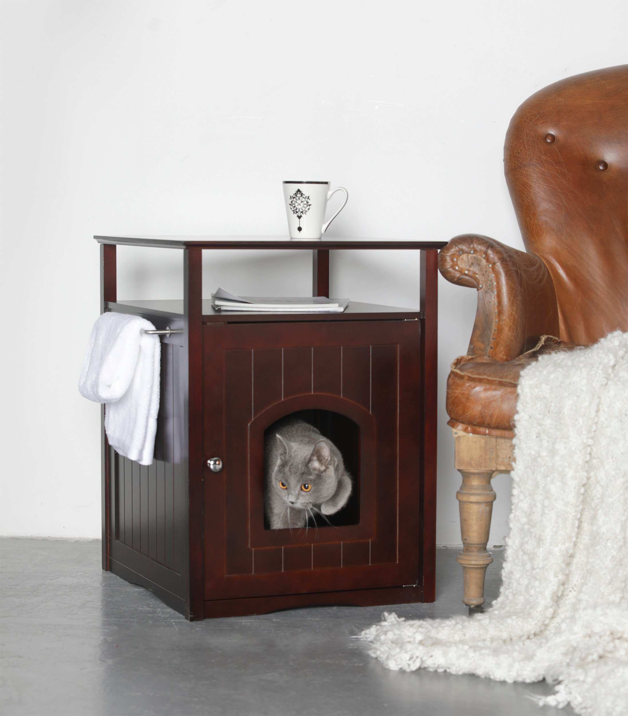 Merry Products MPS007 Cat Washroom - Night Stand Pet House - Dark Espresso