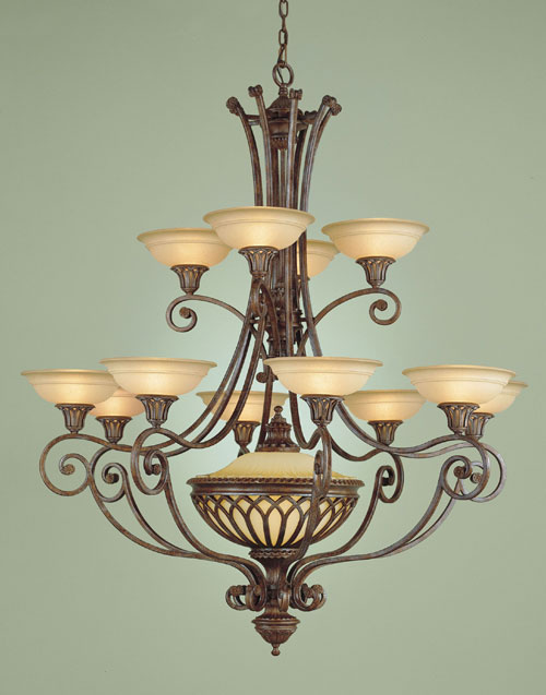 Feiss F1918/12+1BRB Stirling Castle Collection British Bronze 12 Light two tier Chandelier