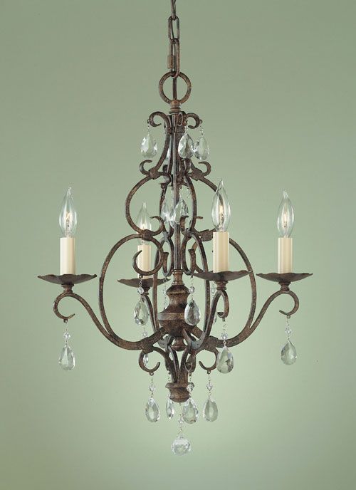 Feiss F1904/4MBZ Chateau Collection Mocha Bronze 4 Light Chandelier