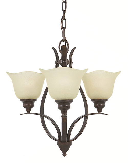 Feiss F2047/3GBZ Morningside Collection Grecian Bronze Chandelier - Mini