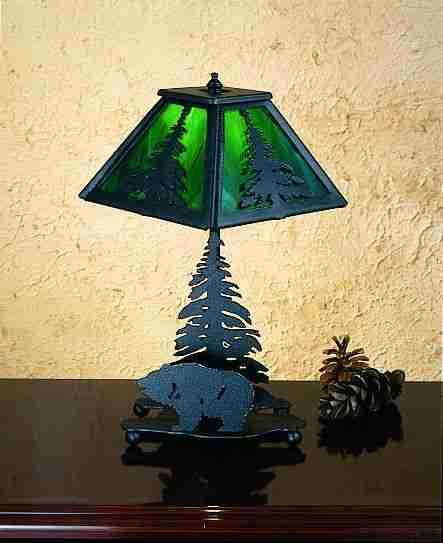 Meyda Tiffany 23416 10 Inch Mini Tree/Gz Bear Base Bk