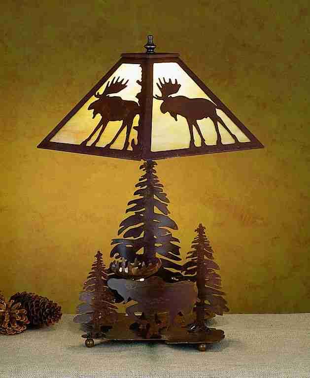 Meyda Tiffany 29500 14 Inch Moose/3tree Base Rust