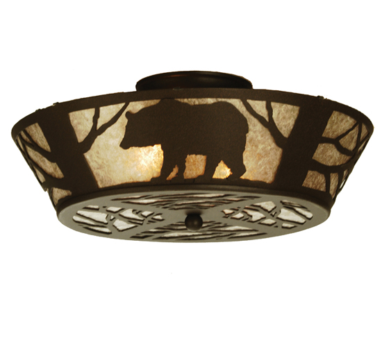 Meyda Tiffany 51328 16 Inch W Blk Bear Flush Mount Cn/Sm