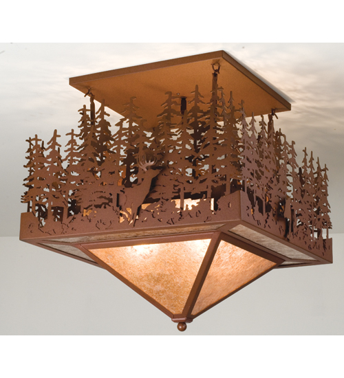 Meyda Tiffany 48062 24 Inch Sq X 24 Inch Drop Pine Lake/Deer & Bear MYTF4244