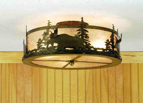 Meyda Tiffany 51095 17.5 Inch W Moose At Dusk Flushmount